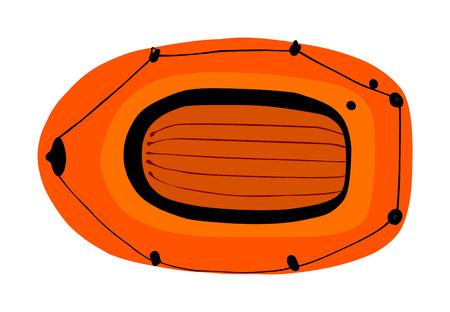 Vecteur de bateau gonflable isolé sur fond blanc. Bateau pneumatique soufflant par air. Équipement de joie d'été pour la détente et les loisirs d'été. Kit de sports nautiques. Outil de sauvetage de sauveteur pour la plage. Plaisir au bord de la mer