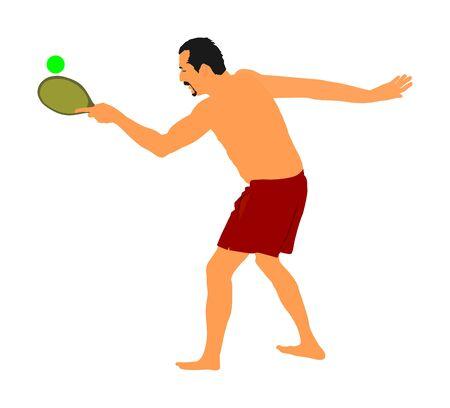 Senior man playing beach tennis, ball game for beach, vector illustration. Summer time. Mature man activity. Иллюстрация