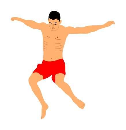 Young boy jumping in water. Man having fun in swimming pool. Cliff jumping vector illustration isolated on white background. Attractive water game on beach. Summer time activity. Enjoying moment.