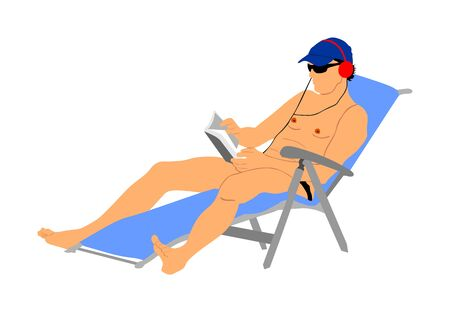 Handsome man enjoying on the beach vector illustration. Relax in the pool. young successful man in sunglasses reading book and listening music at the hotel. Sunbathing and cool drink. Resort relaxing.  イラスト・ベクター素材