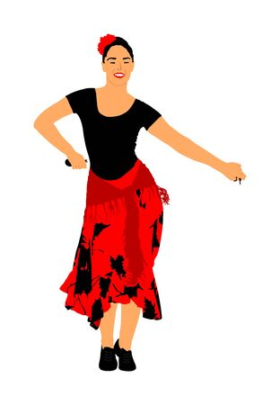Attractive Spanish girl flamenco dancer vector illustration. Hispanic woman with castanets in hot dance. Traditional folklore in Spain. Sensual salsa lady in erotic movement. Mexico culture performer. Foto de archivo - 129272385