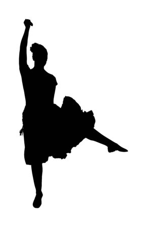 Attractive Spanish girl flamenco dancer vector silhouette. Hispanic woman with castanets in hot dance. Traditional folklore in Spain. Sensual salsa lady in erotic movement. Mexico culture performer.