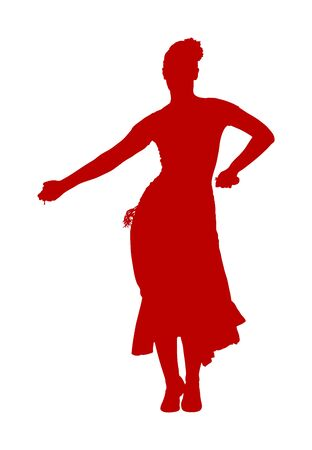 Attractive Spanish girl flamenco dancer vector silhouette. Hispanic woman with castanets in hot dance. Traditional folklore in Spain. Sensual salsa lady in movement. Mexico culture performer.