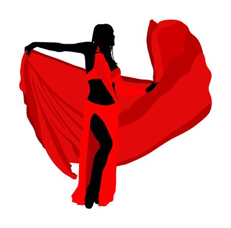 Belly dancer woman coquette vector isolated on white background. Traditional Arab entertainment oriental dance silhouette. Sensual movement erotic lady. Middle east culture. Sheikh amusement in harem
