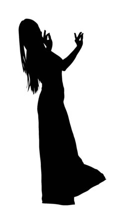 Belly dancer woman silhouette coquette vector isolated on white background. Traditional Arab entertainment oriental dance. Sensual movement lady. Middle east culture. Sheikh amusement in harem