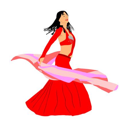 Vector de coqueta de mujer bailarina de vientre aislado sobre fondo blanco. Danza oriental tradicional de entretenimiento árabe. Señora de movimiento sensual. Cultura de Oriente Medio. Diversión jeque en harén
