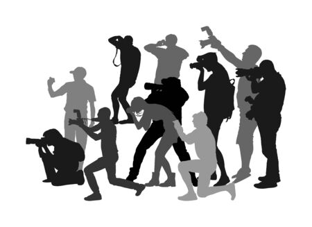 Crowd of photographer with camera vector silhouette. Paparazzi shooting movie star event. Photo reporter on duty. Sport photography. Journalist work for breaking news. Wedding fashion photographer.