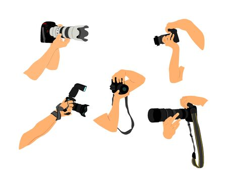 Photographers hands with camera vector illustration. Paparazzi shooting on the event. Photo reporter on duty. Sport photography. Journalist work for breaking news. Wedding fashion photographer.  イラスト・ベクター素材