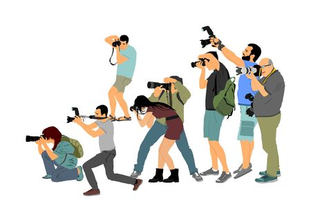 Crowd of photographer with camera vector illustration. Paparazzi shooting movie star event. Photo reporter on duty. Sport photography. Journalist work for breaking news. Wedding fashion photographer.