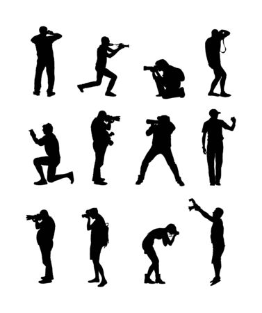 Collection of photographer with camera vector silhouette. Paparazzi shooting movie star event. Photo reporter on duty. Sport photography. Journalist work breaking news. Wedding fashion photographer.