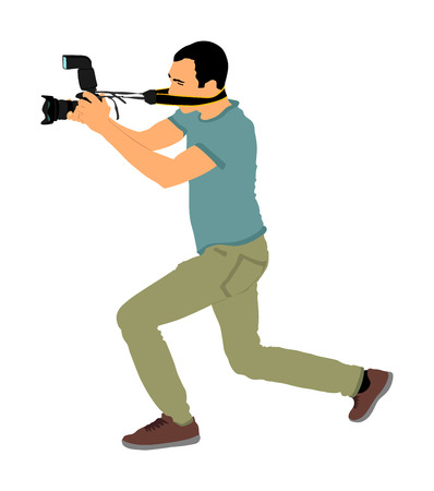 Landscape photographer with camera vector illustration. Paparazzi shooting on the event. Photo reporter on duty. Sport photography. Journalist work for breaking news. Wedding fashion photographer.
