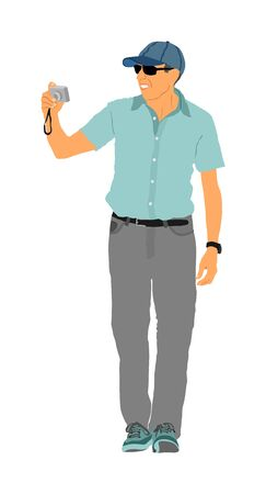 Mature tourist photographer with camera vector illustration. Paparazzi shooting on the event. Photo reporter on duty. Sport photography. Journalist work for breaking news. Wedding fashion photographer