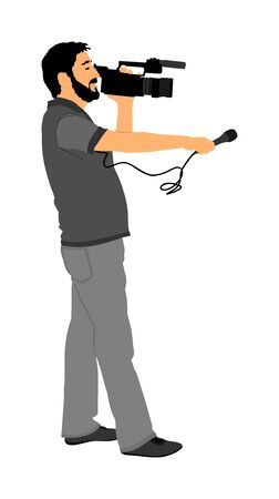 Journalist News Reporter Interview with camera crew vector illustration isolated. TV reporter interviews people on street. Cameraman public opinion work. Illustration
