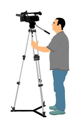Cameraman vector with video camera on event, concert, sport match, isolated on background. Reporter vector illustration. Breaking news in studio. Broadcast in live. Video technology. Ilustración de vector