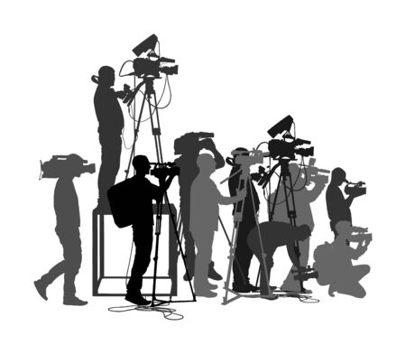 Cameraman crew follows event vector silhouette isolated on white. Concert reporter on duty. Breaking news in studio. Broadcast in live election presentation. Video technology. Camera man outdoor job Vektorové ilustrace