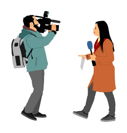 Journalist News Reporter Interview with camera crew vector illustration isolated. TV reporter interviewed people on street. Cameraman, light, sound assistant backup to presenter lady. Breaking news