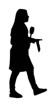 Journalist News Reporter Interview against camera vector silhouette isolated. TV reporter interviewed people on street. Presenter lady with microphone and paper breaking news for televisions viewers.