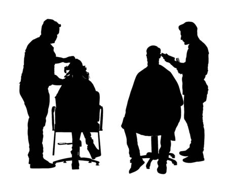 Female hairdresser with client lady in hairdress beauty salon vector silhouette. Woman in barbers chair getting haircut by hair stylist. Hairstylist serving long beard man customer at barber shop Sci