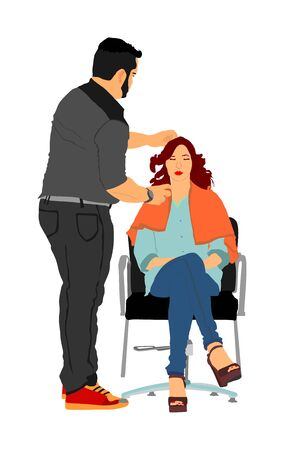 Female hairdresser with client lady in hair dress beauty salon vector. Woman in barbers chair getting haircut by hair stylist. Hairstylist serving customer at hairdress shop.  Scissors job.