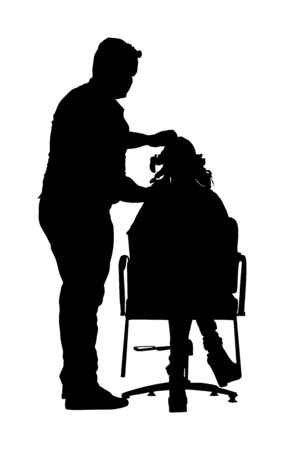 Female hairdresser with client lady in hair dress beauty salon vector silhouette. Woman in barbers chair getting haircut by hair stylist. Hairstylist serving customer at hairdress shop. Scissors job.