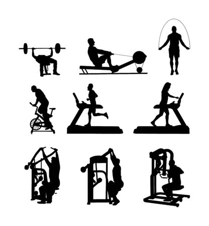 Sport man exercises on gym fitness machine vector silhouette. Pressure for chest, legs. Pull down, stretching, worming up activity. Cardio bike. Cable Row. Jump rope skipping. Treadmill run training.