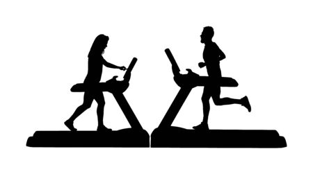 Sport man running on treadmill in gym vector silhouette. Boy on running track cardio training. Fitness lady instructor personal trainer workout. Woman Exercise on simulator. Couple sport activity.