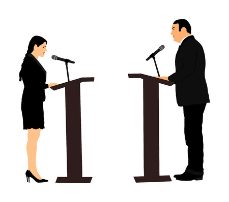 Public speaker standing on podium vector illustration. Politician woman opening meeting ceremony event. Businessman speaking with public. Talking on microphone. Election campaign duel with opponent.