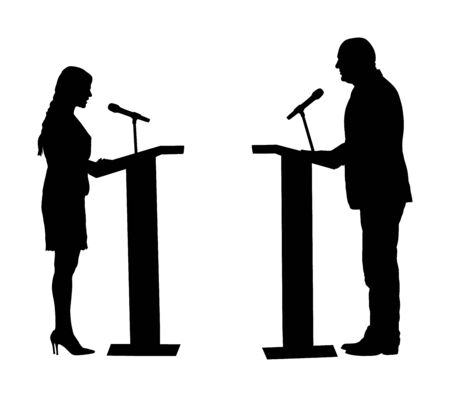 Public speaker standing on podium vector silhouette. Politician woman opening meeting ceremony event. Businessman speaking with public. Talking on microphone. Election campaign vote  opponent duel.
