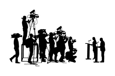 Public speaker standing on podium vector silhouette. Politician woman meeting ceremony event. Businessman speaking with public. Talking on vote press conference. Election campaign duel. Cameraman crew
