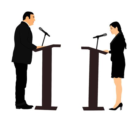 Public speaker standing on podium vector illustration. Politician woman opening meeting ceremony event. Businessman speaking with public. Talking on microphone. Election campaign vote  opponent duel.