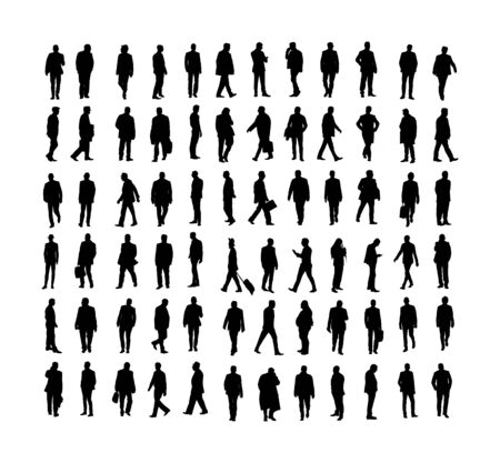 Large collection of business people. Confident leader standing. Businessman go to work vector silhouette illustration. Handsome business man in suite with phone. Standing casual pose. Relaxed man. Illustration