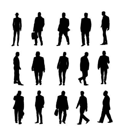 Große Sammlung von Geschäftsleuten. Zuversichtlicher Führerstand. Geschäftsmann gehen Vektor-Silhouette-Illustration zu arbeiten. Hübscher Geschäftsmann in der Suite mit Telefon. Stehende lässige Pose. Entspannter Mann. Vektorgrafik
