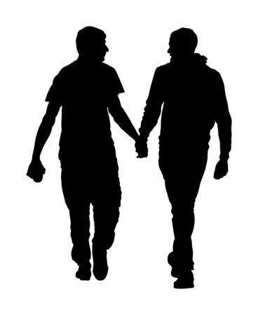 Two homosexual boys walking and hand holding vector silhouette illustration. Handsome gay couple tenderness in public. Hand to hand closeness, man love male. Gay pride rights against discrimination. Stock Illustratie