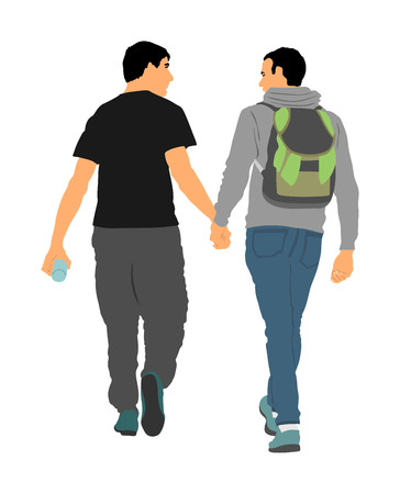 Two homosexual boys walking and hand holding vector illustration. Handsome gay couple tenderness in public. Hand to hand closeness, man love male. Gay pride rights against discrimination.