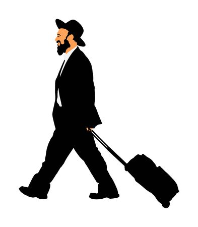Amish man in suite vector illustration. Jewish businessman. Tourist man traveler walking with rolling suitcase vector isolated on white. Diamond merchant. Jeweler buyer, trader from Israel