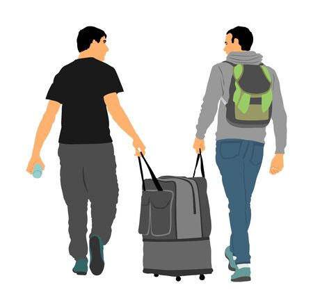 Tourist boys travelers carrying suitcase vector illustration isolated on white. Tourists carry big bag luggage . Man passenger waiting taxi for travel to airport. Moving service hard worker