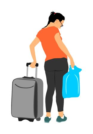 Passenger woman with luggage walking to airport vector illustration. Traveler girl and many bags go home. Lady carry baggage. People with heavy cargo load waiting taxi after holiday. Refugee on border