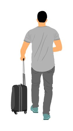 tourist man traveler carrying his rolling suitcase vector illustration isolated on background. Boy with bag. Man passenger waiting taxi for travel to airport. Hotel doorman boy helping.