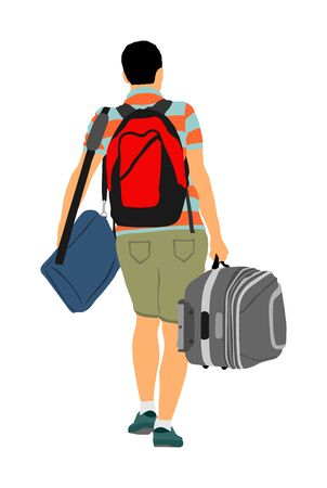 Passenger man with backpack walking to airport vector illustration. Traveler boy with luggage go home carry baggage. Tourist with heavy bag cargo load waiting taxi to holiday. Border refugee migration