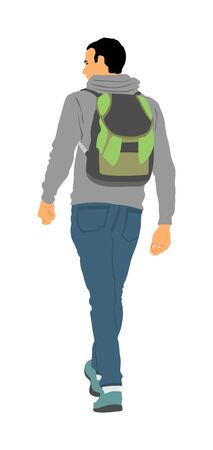 Tourist with backpack vector illustration isolated on background. Hipster passenger walking. Camping man traveling. Boy hiking. Traveler around the world. Collage boy, student walking.