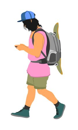 Tourist with backpack vector illustration isolated on white background. Male passenger with skateboard walking. Camping man traveling. Boy sending message on mobile phone. Summer time activity.