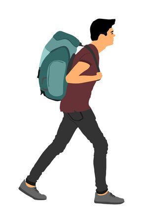 Tourist man with backpack vector illustration isolated on white background. Male hipster passenger walking. Camping man traveling with luggage. Climber boy vector. Stock Illustratie