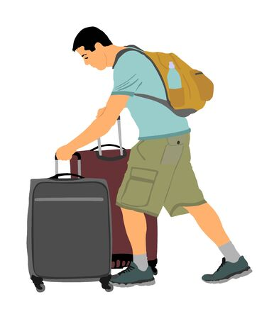 Tired tourist man traveler carrying his rolling suitcase vector illustration isolated on background. Boy with many bags. Man passenger waiting taxi for travel to airport. Hotel doorman boy helping.  イラスト・ベクター素材
