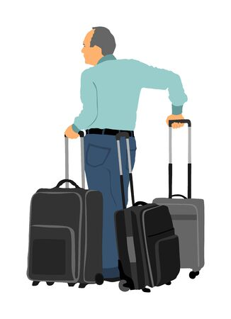 Tourist man traveler carrying his rolling suitcase vector silhouette illustration isolated on white background. Tourist with many bags isolated. Man passenger waiting taxi for travel.