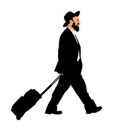 Amish man in suite and hat vector illustration. Jewish businessman in traditional style clothes traveling. Tourist man traveler walking with rolling suitcase isolated on white.