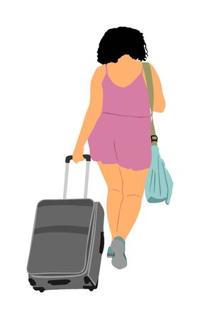 Passenger woman with luggage walking to airport vector. Traveler girl and many bags go home. Lady carry baggage. Tourist people with heavy cargo load waiting taxi after holiday. Refugee on border