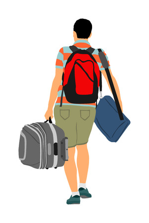 Passenger man with luggage walking to airport vector illustration. Traveler boy with bag and backpack go home, carry baggage. Tourist with heavy cargo load waiting taxi to holiday. Refugee on border