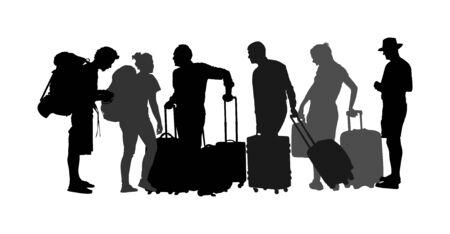 Passengers with luggage walking at airport vector silhouette. Travelers with bags go home. Man and woman carry baggage. People crowd with heavy cargo load waiting taxi after holiday. Refugees on border migration