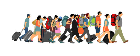 Passengers with luggage walking airport vector illustration. Travelers with many bags go home. Man and woman carry baggage. People with heavy cargo load waiting taxi after holiday. Refugees on border