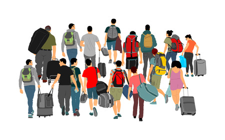 Passengers with luggage walking airport vector illustration. Travelers with many bags go home. Man and woman carry baggage. People with heavy cargo load waiting taxi after holiday. Refugees on border Vektorové ilustrace
